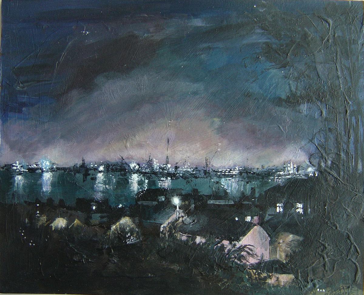 Falmouth nightscape 24 x 30 cm
