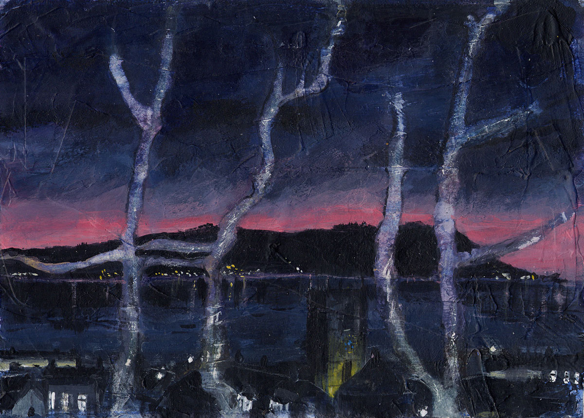 Nightscape with trees 13 x 18 cm