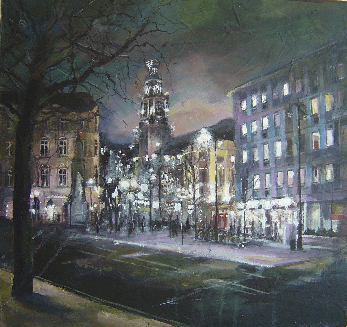 Across St Martins Lane January 2010 43 x 45 cm