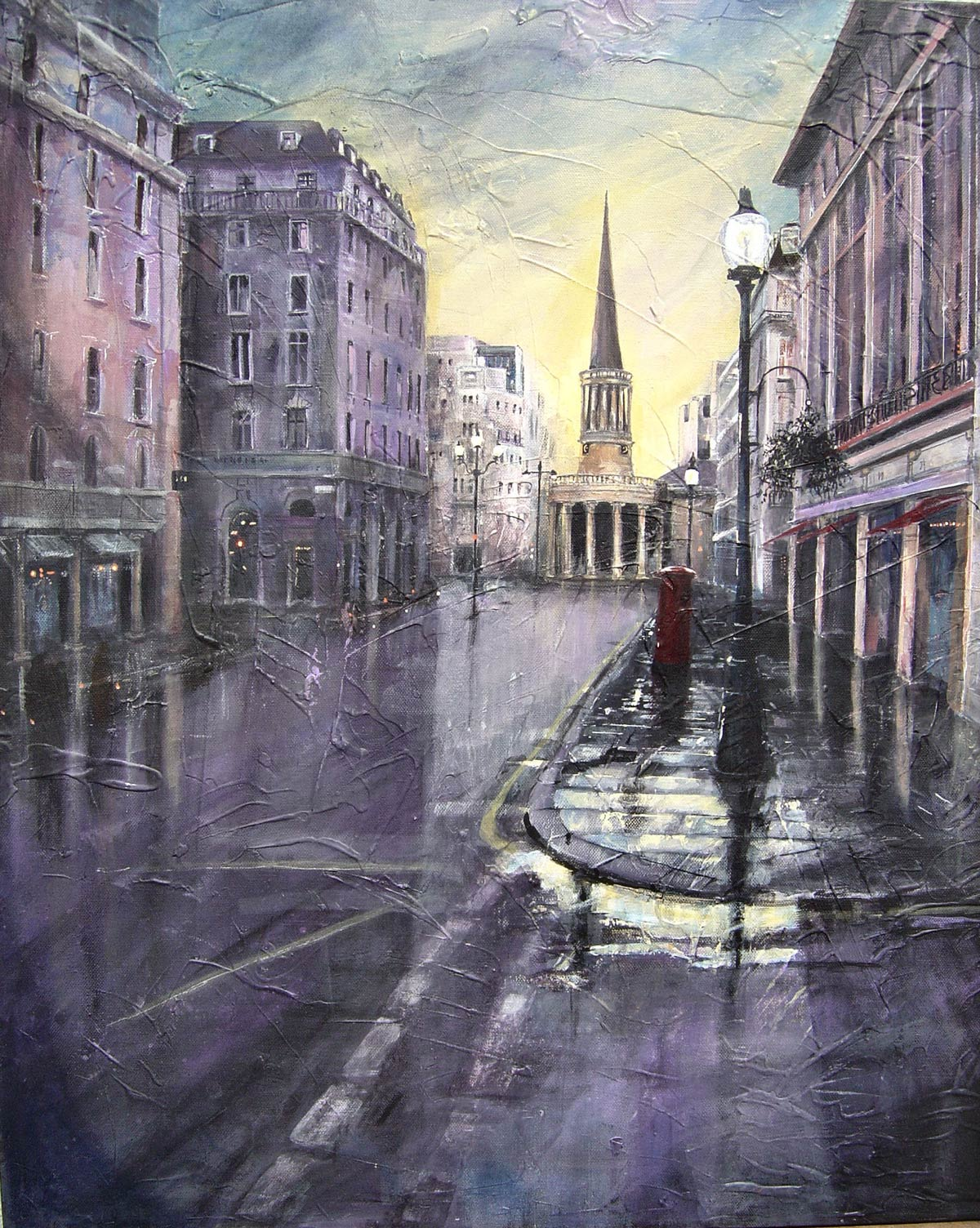 All Souls Church, Regent Street - Rainy Evening 70 x 60 cm