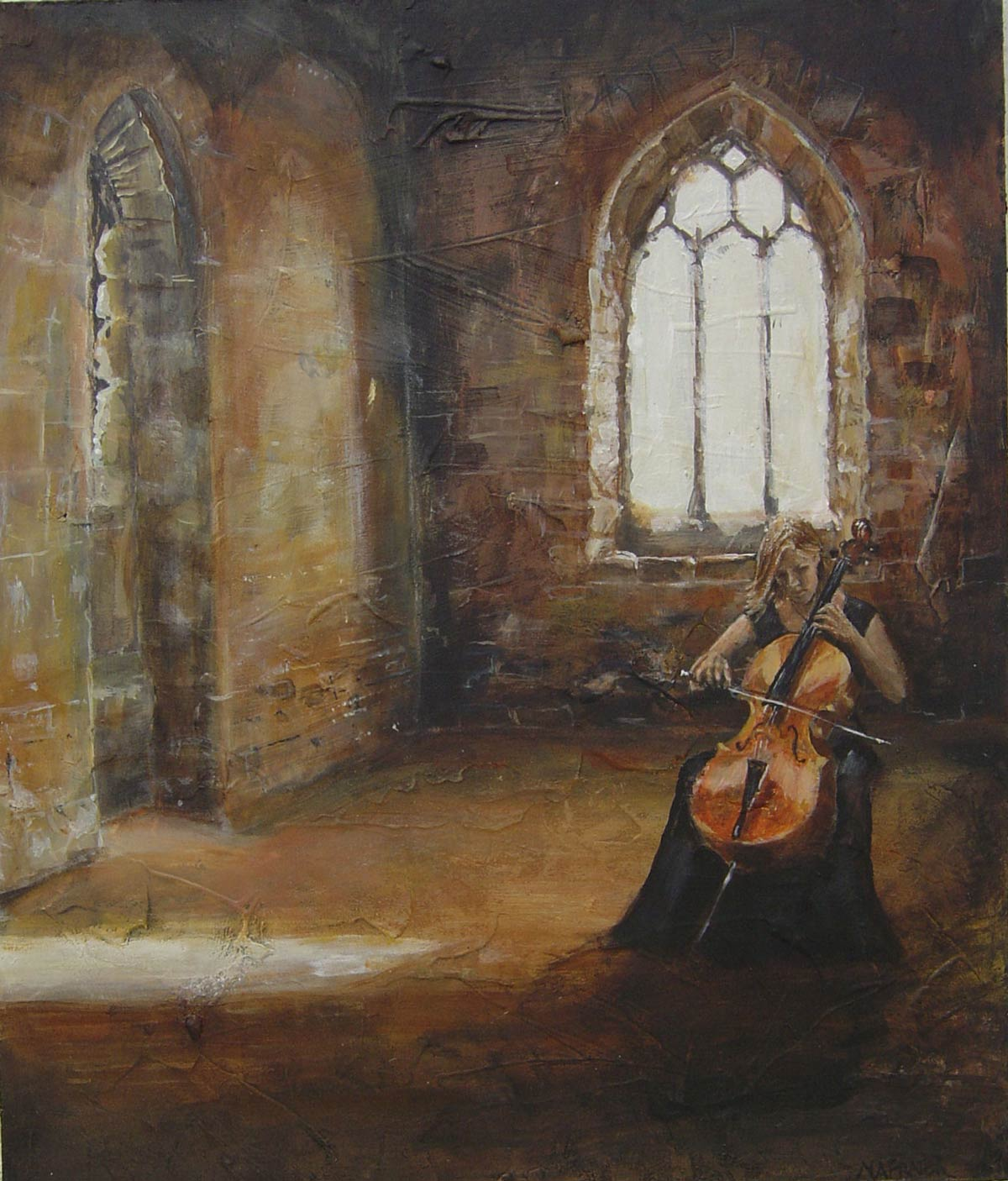 Cellist in St Catherine's Chapel 36 x 30 cm
