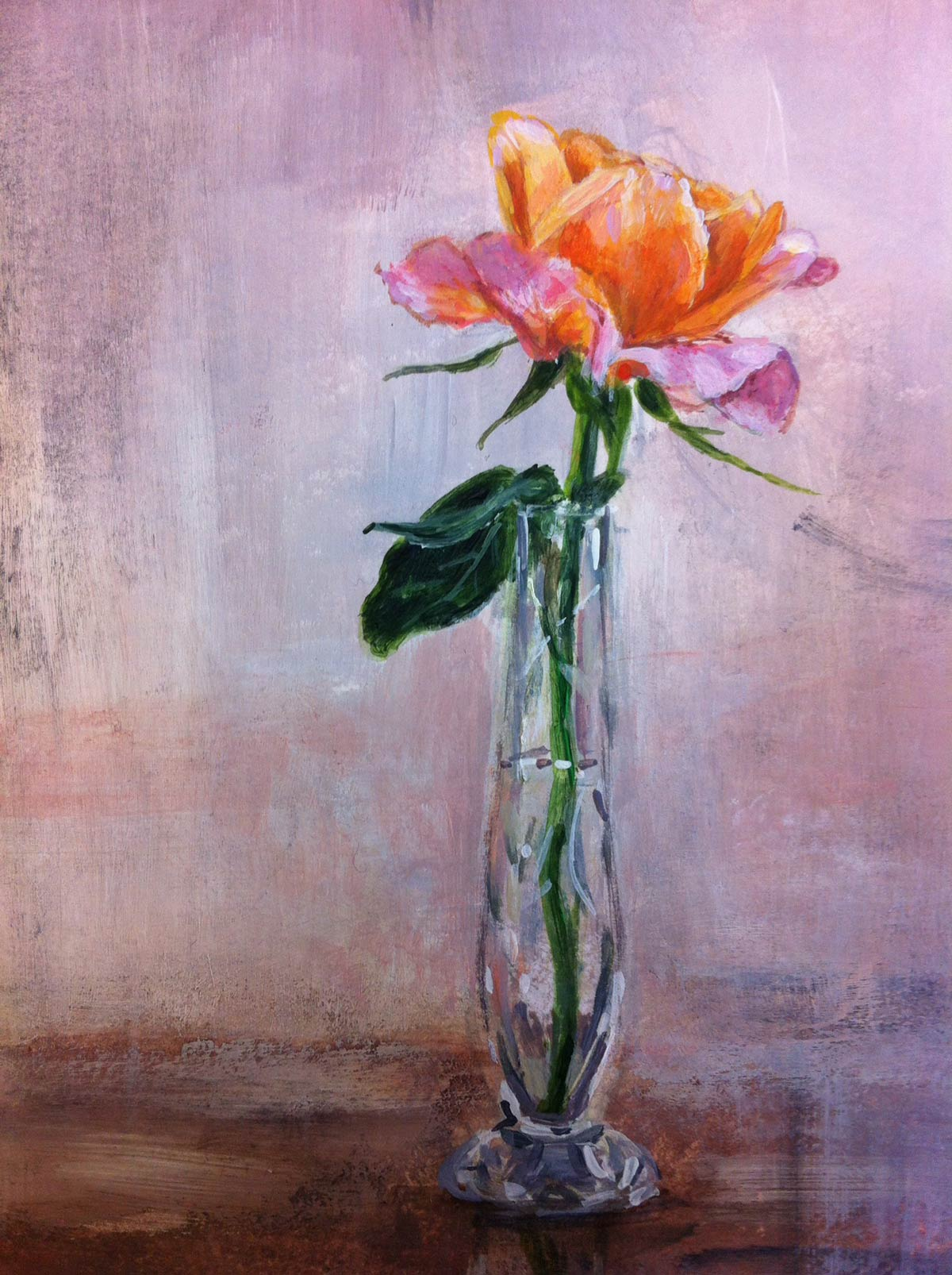 Cliff's rose in Mary's vase 15 x 10.5 cm
