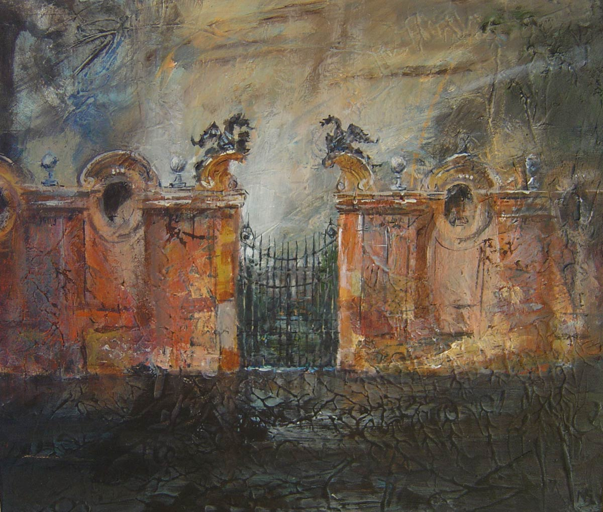 Gates outside Rome Villa Borghese 27 x 31 cm