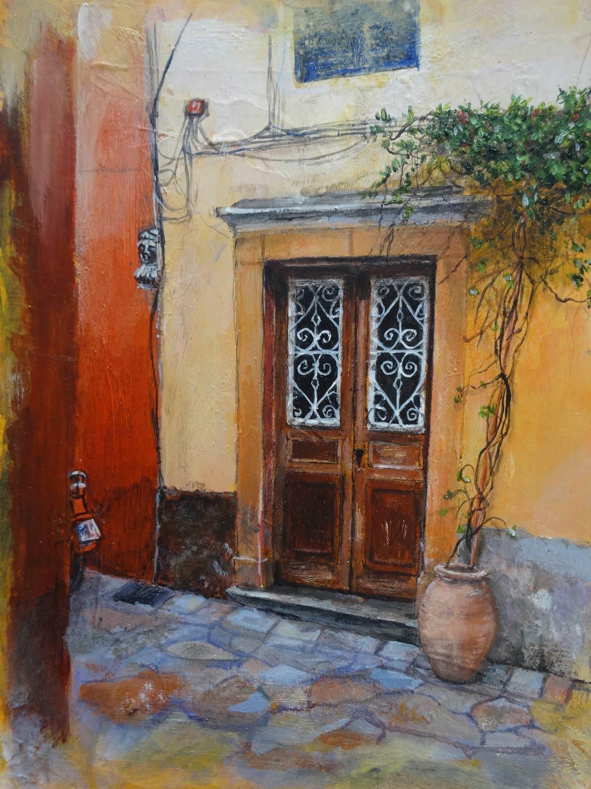 Old door Corfu Town 24 x 18 cm