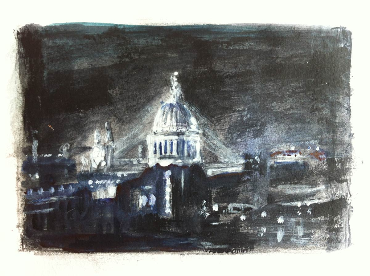 Preparatory sketch for Small London nightscape 15 x 20 cm