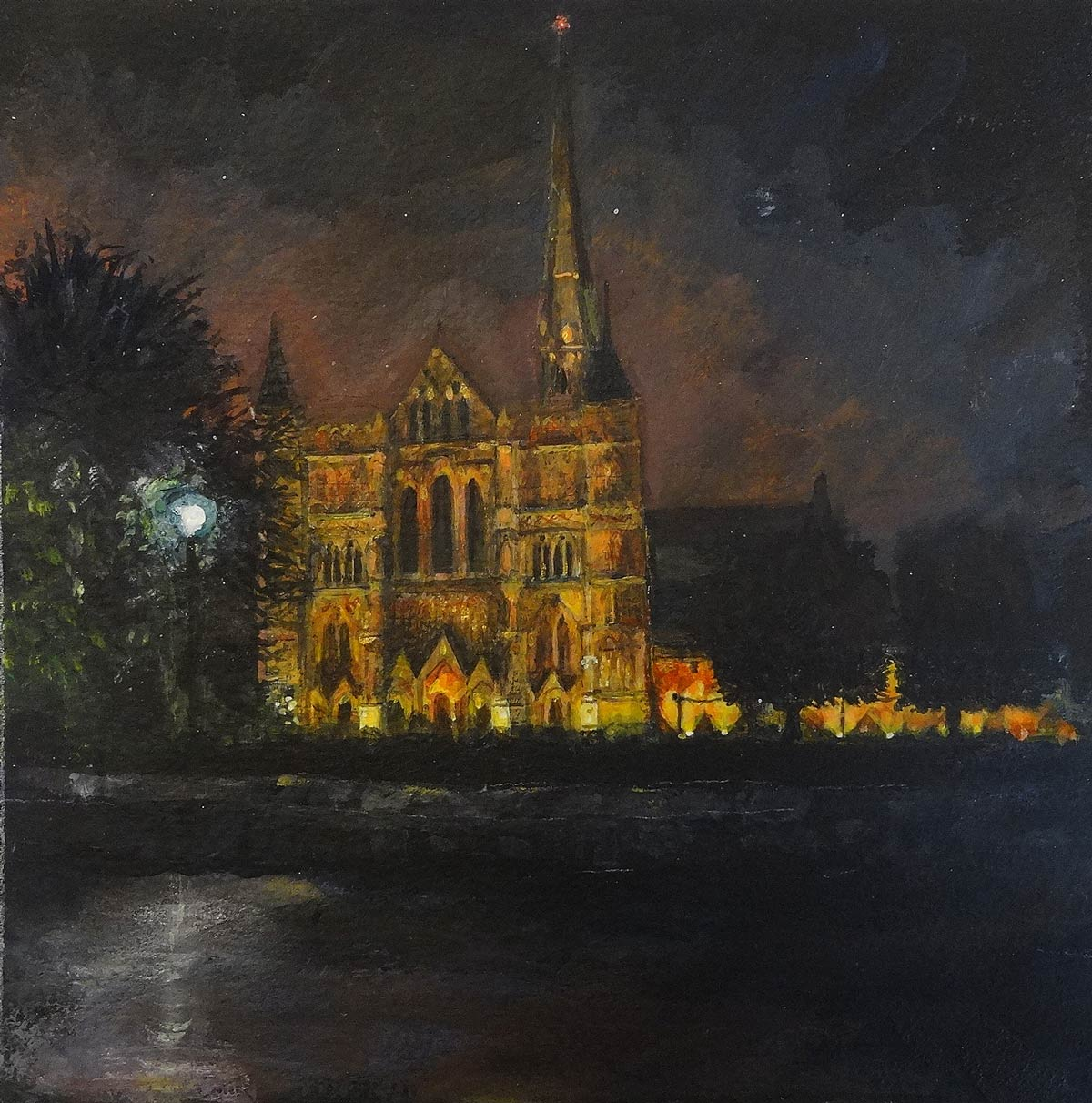 Salisbury Cathedral October evening 19 x 19 cm