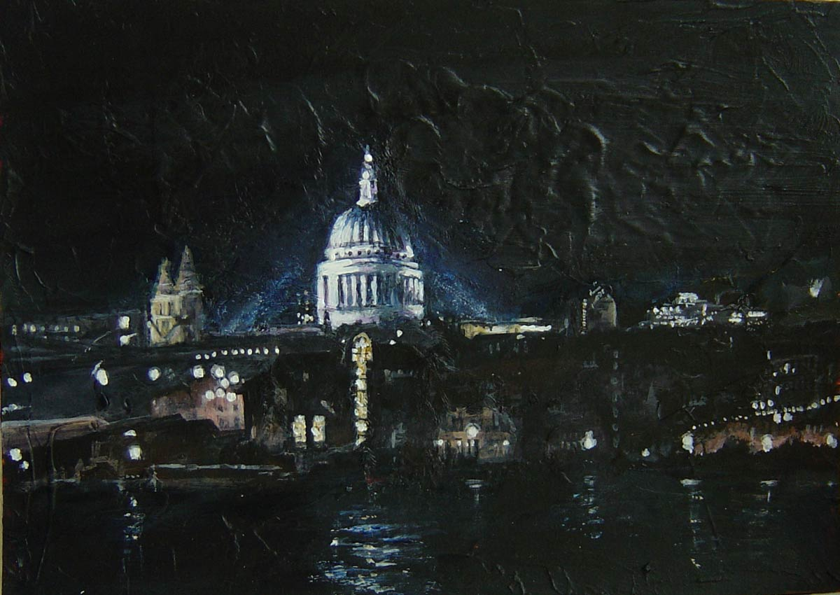 Small London Nightscape St Pauls from Tate Modern 15 x 20 cm