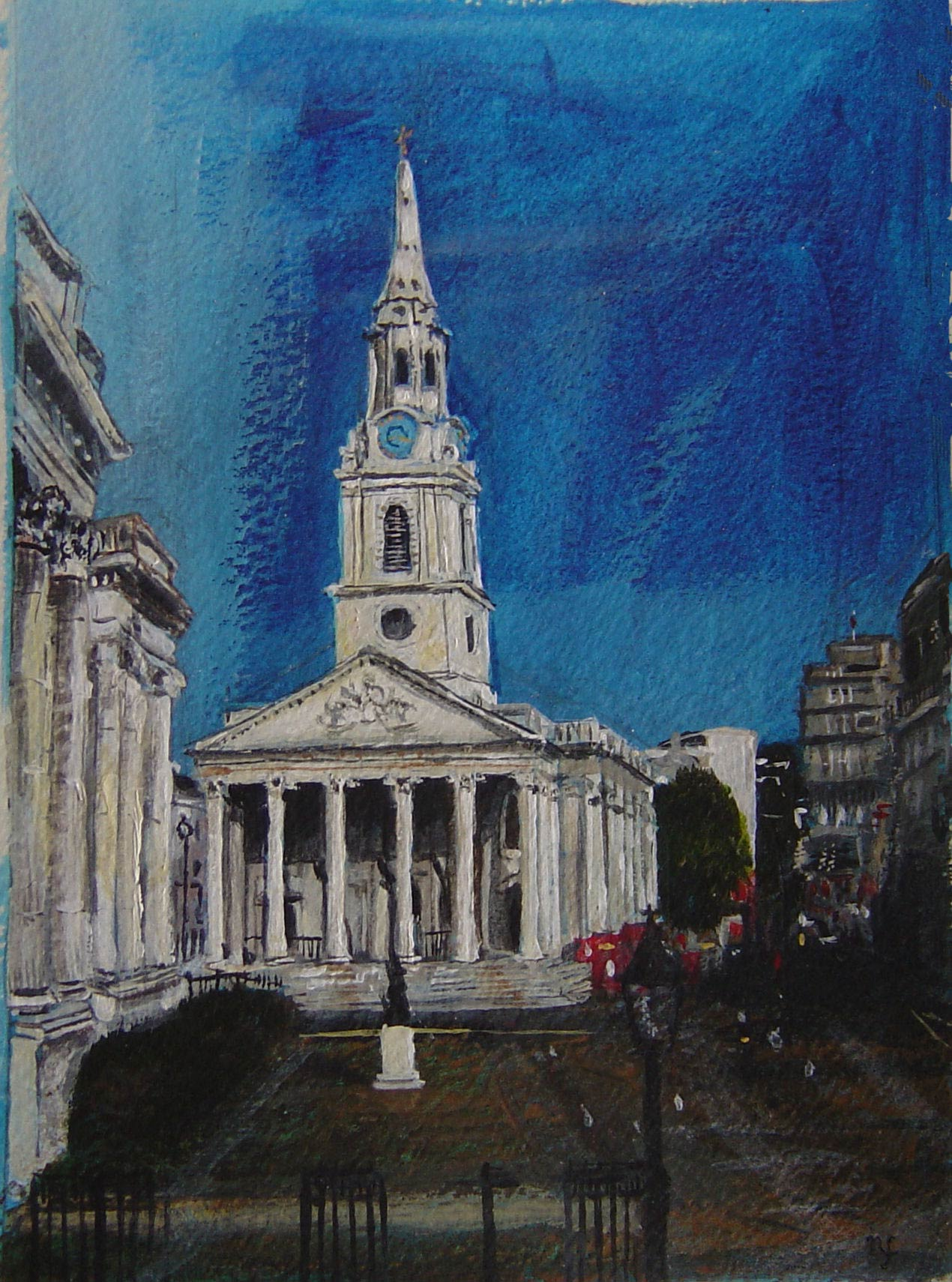 St Martin in the Fields from the National Gallery 18 x 13 cm