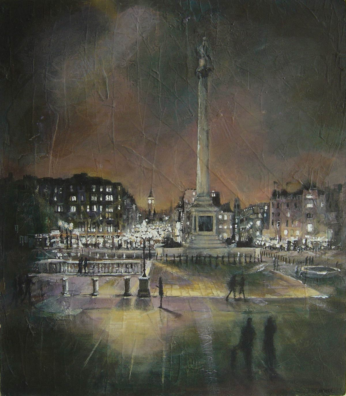 Trafalgar Square evening January 2010 43 x 41 cm